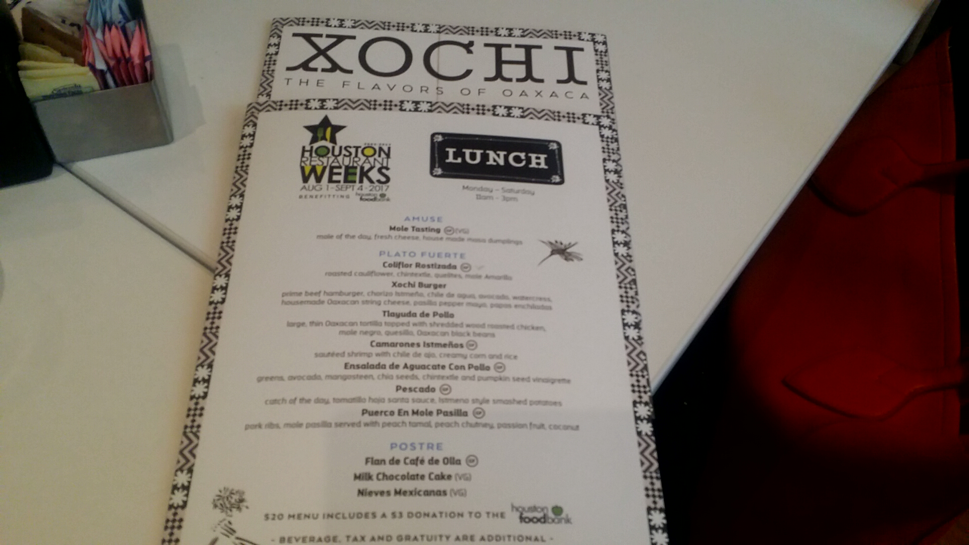 Xochi Restaurant Week Menu