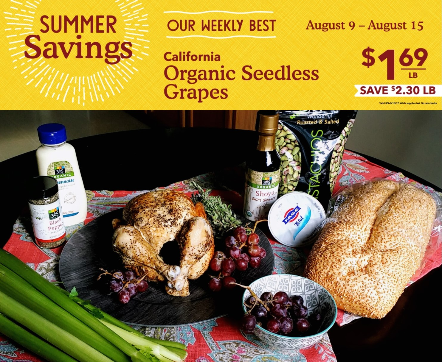 Simple Rotisserie Chicken Salad with Organic Red Grapes |  TASTYBITS