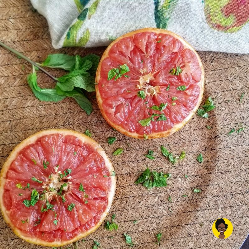 Baked Grapefruit Brown sugar and mint