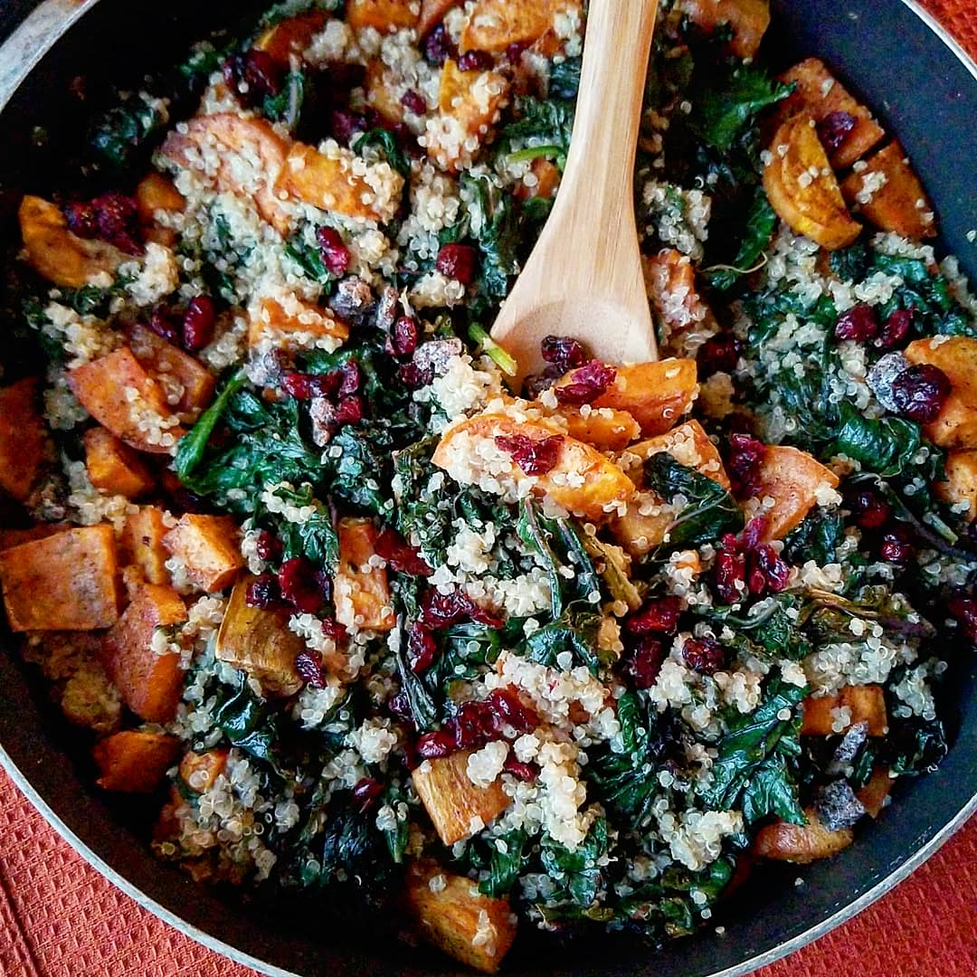 Roasted sweet potatoes and quinoa skillet