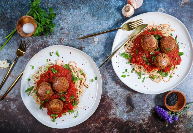 A plate of eggplant meat balls and pasta
